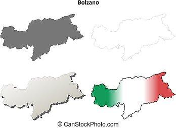 Bolzano blank detailed outline map set - Italian version -...
