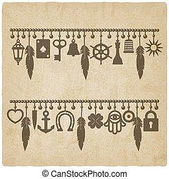 bom, antigas, fundo, símbolos, charme, pulseiras, sorte