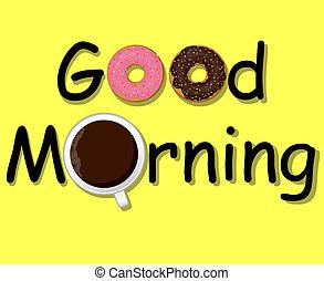 bom, café, morning!, donuts