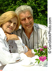 bom, caucasiano, par ancião