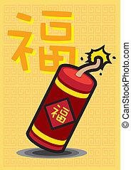 bom, chinês, despeça bolacha, explodindo, ano, novo, sorte