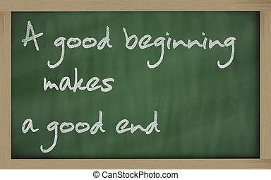"""bom, fim, quadro-negro, escrito, """", faz, começando"""