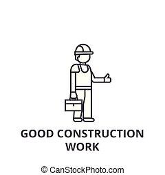 bom, golpes, trabalho, editable, ilustração, sinal, vetorial, ícone, construção, linha, fundo