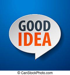 bom, idéia, 3d, borbulho fala, ligado, experiência azul