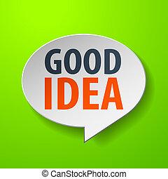 bom, idéia, 3d, borbulho fala, ligado, experiência verde