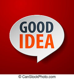 bom, idéia, 3d, borbulho fala, ligado, experiência vermelha
