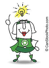 bom, idéia, super, reciclagem, mulher
