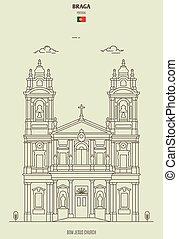 Bom Jesus church in Braga, Portugal. Landmark icon in linear style