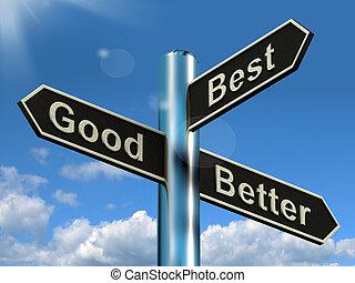 bom, melhor, melhor, signpost, representando, ratings, e,...