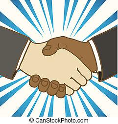 bom, negócio, dois, ilustração, homens negócios, agitação,...