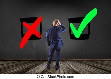 bom, negócio, parede, -, escolha, olhar, conceito, frente, homem negócios