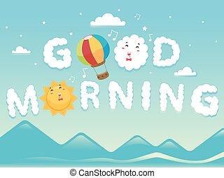 bom, nuvens, manhã