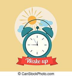 bom, nuvens, relógio, cartaz, alarme, cima, manhã, acordar