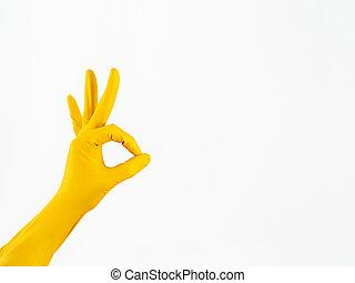 bom, ok, service., símbolo, isolado, luva, mão, borracha, experiência., amarela, limpeza, branca, gesture., mostra