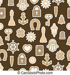 bom, padrão, seamless, símbolos, charme, sorte