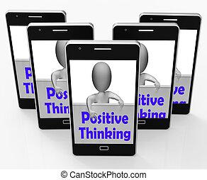 bom, pensando, positivo, sinal, optimista, pensamentos, mostra