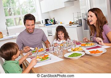 bom, refeição, rir, ao redor, família