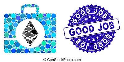 bom, textured, ícone, caso, ethereum, mosaico, selo, trabalho