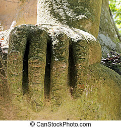 BOMARZO, ITALY - 2 JULY 2017 - Ercole - Caco in the Monster Park in Bomarzo - Italy