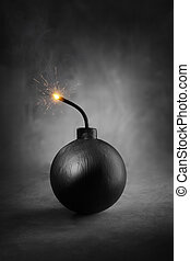 Bomb - A Cartoon-style round black bomb with a burning fuse.