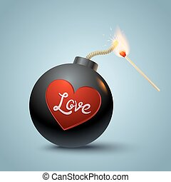Vector illustration of a bomb with heart and match in fire