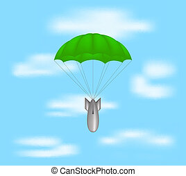 Bomb at green parachute on blue sky with clouds