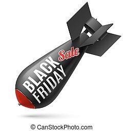 Bomb - Black Friday. Illustration of black bomb on white