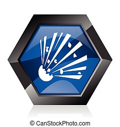 Bomb dark blue glossy hexagon geometric diamond vector web icon with reflection on white background. Modern design hexagonal internet button.