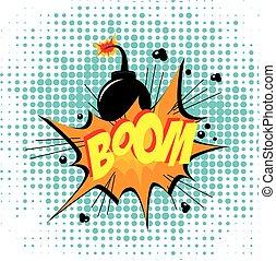 Bomb design over dotted  background vector illustration
