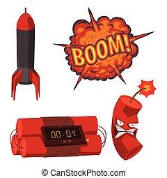 Bomb dynamite fuse vector illustration grenade attack power...