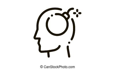 Bomb Dynamite Man Silhouette Headache animated black icon on white background