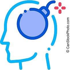 Bomb Dynamite Man Silhouette Headache Vector Icon
