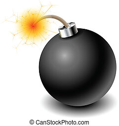 Bomb - Black bomb with burning cord eps10
