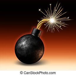 Bomb Exploding - Exploding bomb with lit burning fuse with...