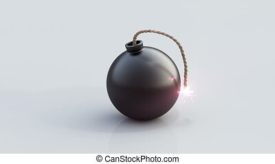 Bomb explosion - 10 seconds of bomb animation on white...