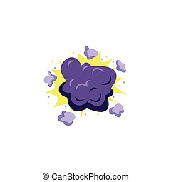 Bomb explosion icon with colorful violet puffs of smoke and flash, cartoon vector illustration isolated on white background. Cartoon comic boom burst effect.
