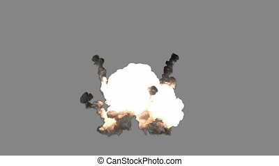 bomb explosion with alpha matted