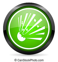 bomb green glossy icon on white background