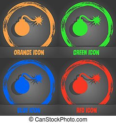 bomb icon. Fashionable modern style. In the orange, green, blue, red design. Vector
