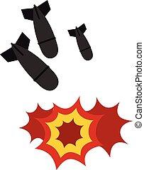 Bomb icon, flat style