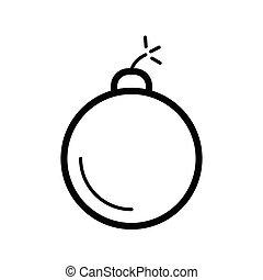 bomb icon. Flat vector line icon