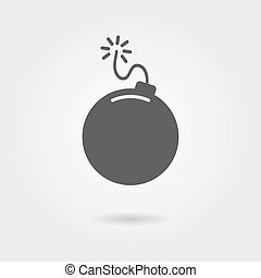 bomb icon with shadow. isolated on grey background. modern...
