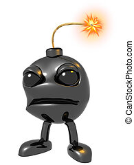 Illustration of a cartoon bomb with a flaming fuse