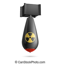 Bomb - Illustration of atomic bomb, bomb isolated on a white...