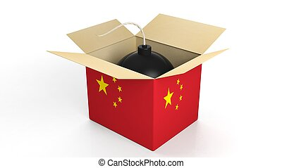 Bomb in box with flag of China, isolated on white background.