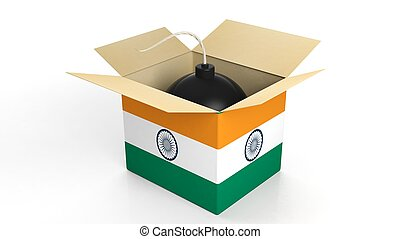 Bomb in box with flag of India, isolated on white background.