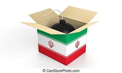 Bomb in box with flag of Iran, isolated on white background.