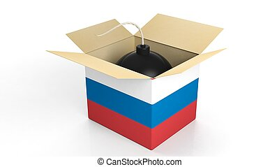Bomb in box with flag of Russia, isolated on white background.