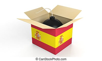 Bomb in box with flag of Spain, isolated on white background.