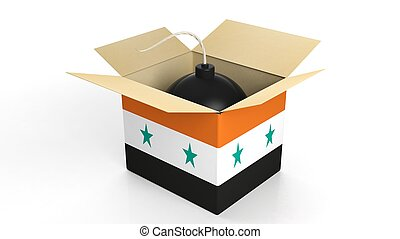 Bomb in box with flag of Syria, isolated on white background.